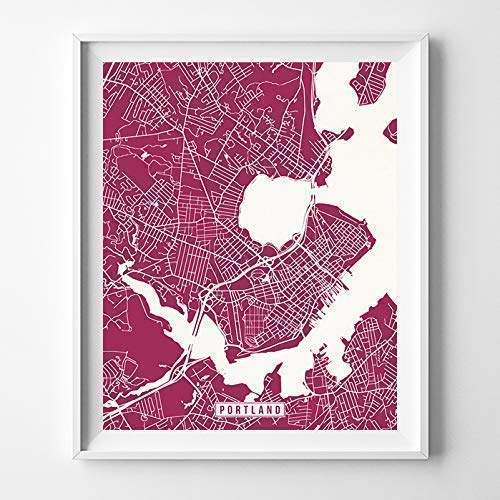 Portland Maine City Street Map Wall Art Home Decor Poster Urban City Hometown Road Print - 70 Color Choices - Unframed (A Map Of Maine With Towns And Cities)