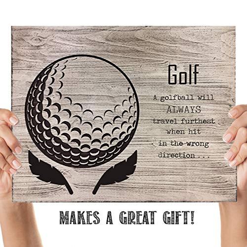 (Golf- Funny Wood Sign Print- 10 x 8