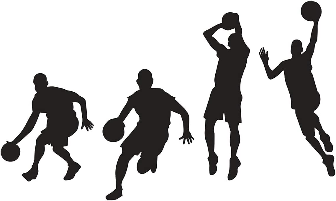 Woodland Arts Black 35.4 inches x 15.7 inches Vinyl Basketball 4 Basketball Players Slam Dunk Silhouette Wall Decals Stickers for Boy Rooms