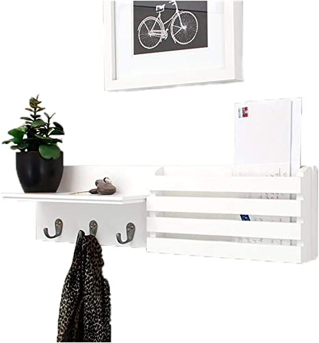 Mail Holder and Book Coat Key Holder Rack Wall Shelf with 3 Hooks, Wall-Mounted Display Storage Ledge, Entry Living Room, 24 x 6 , White
