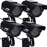 Masione 4 in Pack Waterproof LED Indoor Outdoor Solar Powered Fake Simulated Dummy Security Camera Silver with Blinking Light (Black)