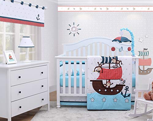 OptimaBaby My Little Pirates 6 Piece Baby Nursery Crib Bedding Set