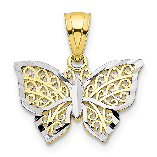 (Jewel Tie 10K Rhodium Plated Yellow Gold Butterfly Charm - (0.55 in x 0.63 in))