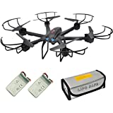 X601H FPV Quadcopter Drone with Camera Live Video, RC Drone Kit with 2 Batteries, Warning Buzzer and battery safe pouch, Hover Drone RTF with Headless Mode 2.4GHz 4 CH 6 Axis Gyro for Beginners Black