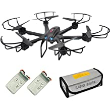X601H FPV Quadcopter with HD Camera RC Drone with Altitude Hold, RTF, Extra Battery, Warning Buzzer and battery safe pouch for Beginner Black