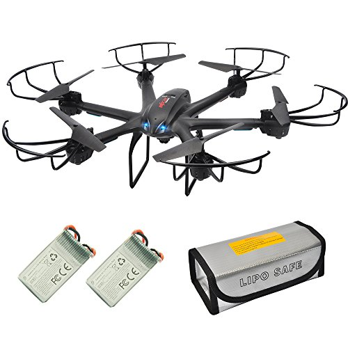 Cheap X601H FPV Quadcopter Drone with Camera Live Video, RC Drone Kit with 2 Batteries, Warning Buzzer and Battery Safe Pouch, Hover Drone RTF with Headless Mode 2.4GHz 4 CH 6 Axis Gyro for Beginners Black