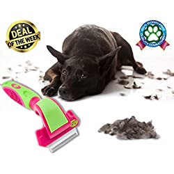 Deshedding Dog Brush FWIPER by 2PET - for Small, Medium & Large Sized Dogs, Cats & Other Pets – Reduces Undercoat Shedding by 95% - Designed to Groom Medium to Short Hair . Small 2 Inches Flush Pink
