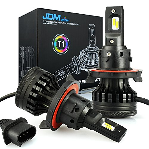 JDM ASTAR Newest Version T1 10000 Lumens Extremely Bright High Power H13 9008 All-in-One LED Headlight Bulbs Conversion Kit, Xenon White