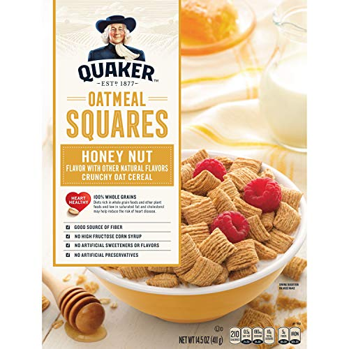 - Quaker Oatmeal Squares, Honey Nut, Breakfast Cereal, 14.5 oz Box