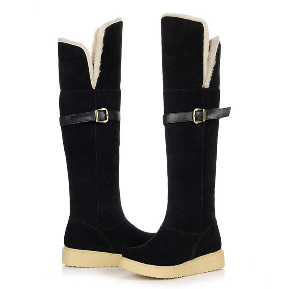 Black T-JULY Plus Sizes 34-43 Women's shoes Woman Knee-High Boots Winter Snow Boots Woman Keep Warm Plush shoes
