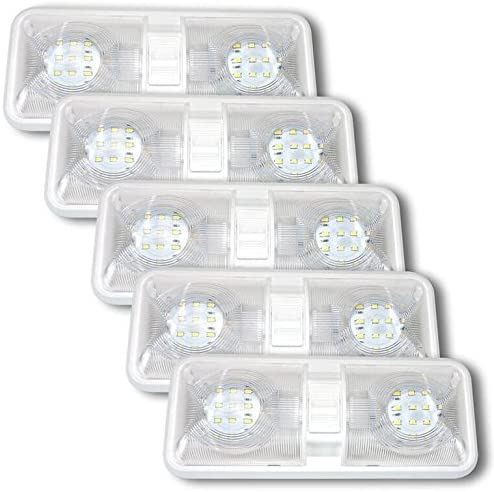 5 Pack Leisure LED RV LED Ceiling Double Dome Light