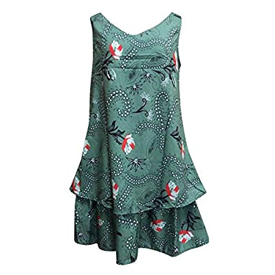 Muranba Womens Dresses Fashion Flowers Prinitng Casual Sleeveless Tunic Sun Mini Dress