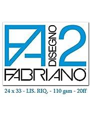 Fabriano F2 06201516, Album da Disegno, Formato 24 x 33 cm, Fogli Lisci Riquadrati, Grammatura 110gr/m2, 20 Fogli, 1 pezzo