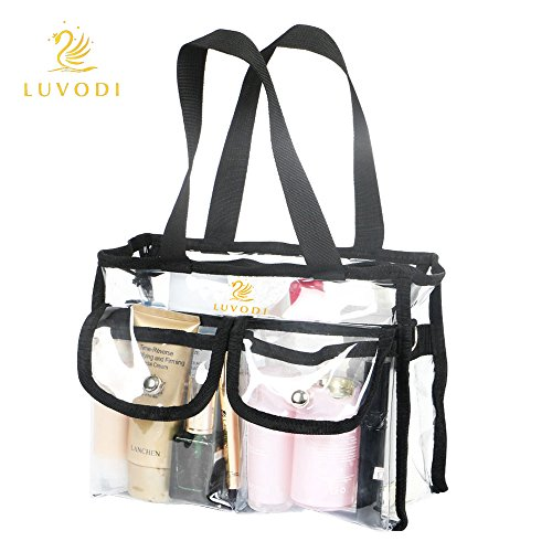 UNHO Clear PVC Cosmetic Bags Transparent Tote Handbag With Removable and Adjustable Shoulder Strap