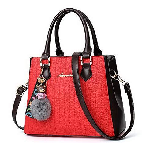 Moda Grigio tracolla cerniere Rosso Dacron Borse a Donna Festa AgooLar GMMBA181902 gqwxtzyE
