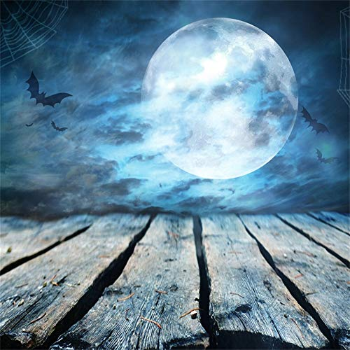 Laeacco 7x7ft Gloomy Moonlight Fullmoon Flying Bats Grunge Wooden Floor with Rusty Nails Vinyl Photography Background Halloween Horror Night Backdrop Child Kids Baby Portrait Birthday Party Banner ()