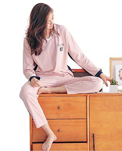 casuale le 2 biancheria donne morbido cotone notte signore M XL set pink da pezzi pigiama da azIwY