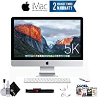 Apple iMac MK482LL/A 27-Inch Retina 5K Desktop (3.3 GHz Intel Core i5, 8GB DDR3, 2TB Fusion) Essentials Bundle - With 2 Year Extended Warranty + Ear Buds, Corel Software, and more.