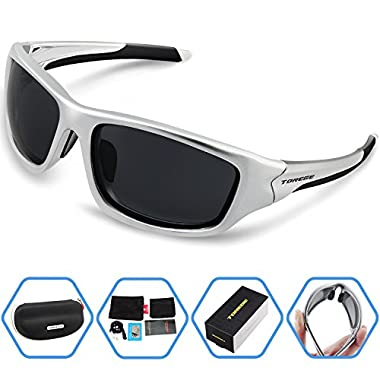 Torege Polarized Sports Sunglasses For Cycling Running Fishing Golf TR90 Unbreakable Frame TR011 (Titanium silver)