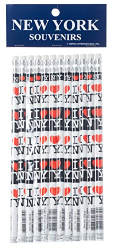 I Love NY Pencils - White and Black New York Souvenir - Pack of 12 (Nyc Souvenirs Pencils)