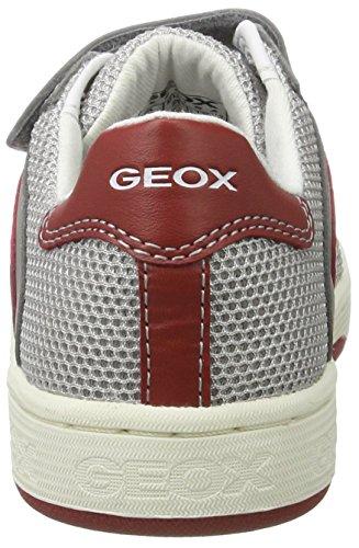 Geox J Maltin a, Zapatillas para Niños Blanco (Grey/redc0051)