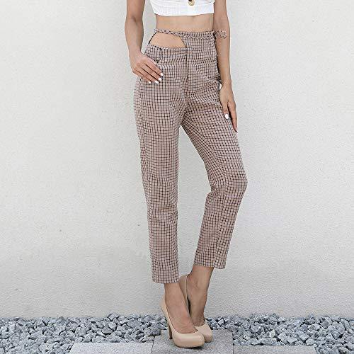Elastica Pantaloni Donne Con Vita Abbigliamento E Di Dimensioni Strisce Caviglia Alta Elastico Grandi Somesun Alla Nove Cachi Da Sciolte Donna In U1wq5fU