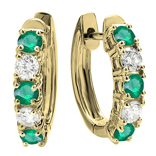 Dazzlingrock Collection 14K Round Emerald & White Diamond Ladies Huggies Hoop Earrings, Yellow Gold
