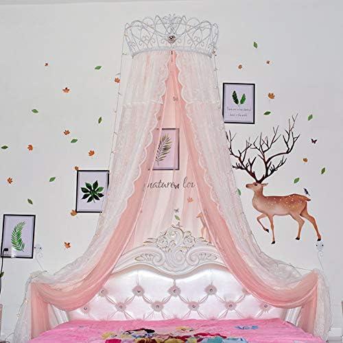 レースベッドキャノピー,皇太子妃 ダブル カラー ベッド カーテン 装飾的なドレープメタルクラウンと寝室のためのライトと裁判所の蚊帳-i