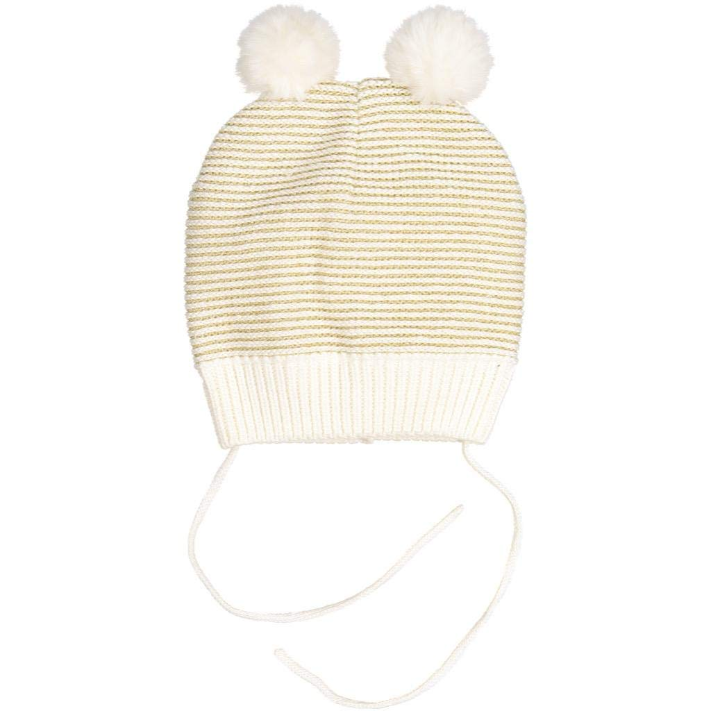 Polarn O. Pyret Winter Sparkle ECO Knit Bobble Cap (Baby) - 9 Months - 2 Years/Egret