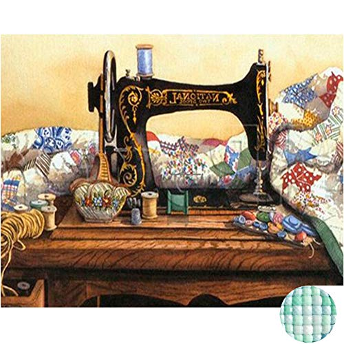 LIPHISFUN Diamond Painting Kits for Adults Full Drill Square Resin Rhinestone Embroidery Unfinished Cross Stitch Home Decor Gift Sewing Machine - Diamond Sewing Machine