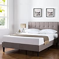 Zinus Upholstered Vertical Detailed Platform Bed, King