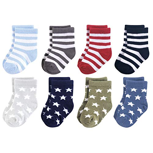 Luvable Friends Baby Basic Socks, Black And Blue Stars 8Pk, 6-12 Months