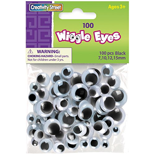 Creativity Street Wiggle Eyes Assorted Sizes, Black, 100-Piece