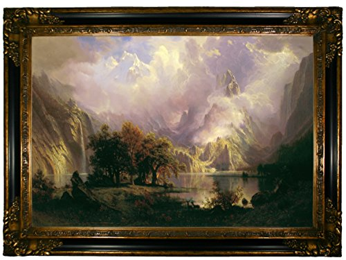 Historic Art Gallery Rocky Mountain Landscape 1870 by Albert Bierstadt Framed Canvas Print - Gold & Black Gallery - 19x28