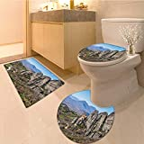 MikiDa Bathroom Household Rug holy monastery of varlaam in meteora mountains thessaly greece unesco world Non Slip Comfortable Snd Soft