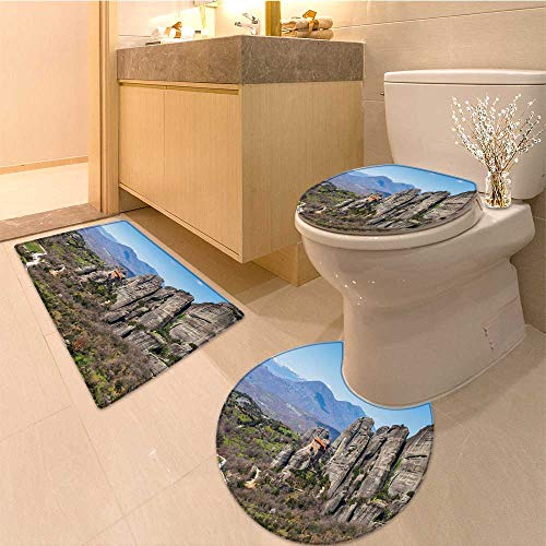 MikiDa Bathroom Household Rug holy monastery of varlaam in meteora mountains thessaly greece unesco world Non Slip Comfortable Snd Soft by MikiDa