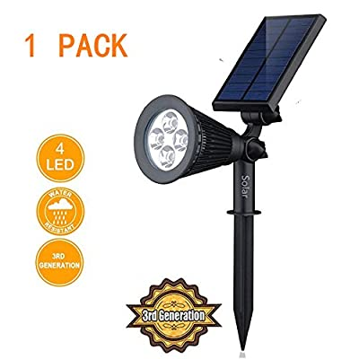 AG-LED 2-in-1 Waterproof Solar LED Outdoor Spotlight Solar Powered White Light for Landscape Driveway Yard Lawn Pathway Garden Security Lighting No. 3rd Generation Technology Update