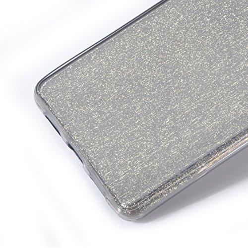 Vandot 1x Exclusivo Airbag 0.7mm Case ultra fina delgada prueba de golpes transparente TPU para Huawei P8 5.2 pulgadas caso de la piel suave del gel cristalino claro silicona cubierta del protector de Bling Black