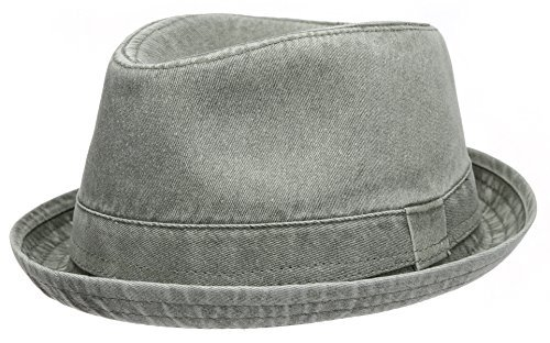 Men's Casual Vintage Style Washed Cotton Fedora Hat (F2232-OLIVE,SM)