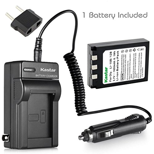 Kastar Battery (1-Pack) and Charger Kit for Olympus LI-10B LI-12B and Olympus Stylus 300,400,500,600,800,C-50,60,70,470,760,770,5000 Camera