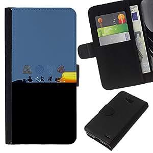 YiPhone /// Tirón de la caja Cartera de cuero con ranuras para tarjetas - Dobladora de aire Elementos - LG OPTIMUS L90