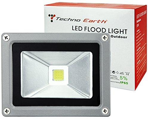 Techno Earth F10K 90-240V 120-Degree Beam Angle Landscape Outdoor Waterproof 10W LED Flood Light Lamp, Cool White (Led Design Techno)
