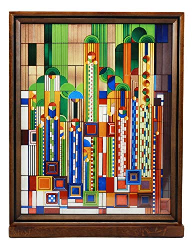 Antique Biltmore Collection - Ebros Frank Lloyd Wright Saguaro Forms and Cactus Flowers Stained Glass Art Desktop Plaque Or Wall Decor Hanger 15