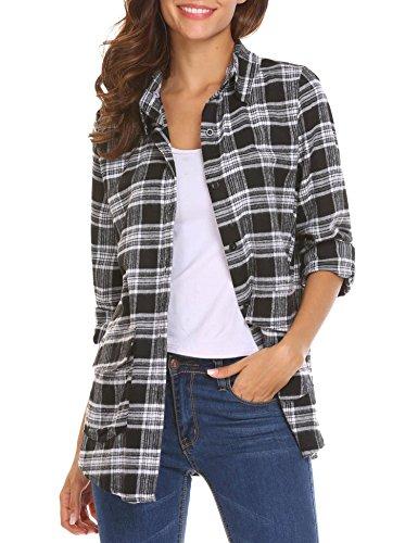 Femme shirt Automne Zeagoo Coton Col Manche Chemisier Noir Carreaux Longue T Blouse Chemise qUwPU15zr
