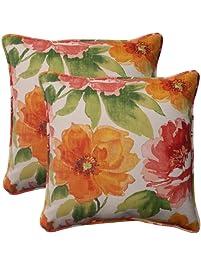 Pillow Perfect Indoor/Outdoor Primro Corded Throw Pillow, 18.5 Inch, Orange,