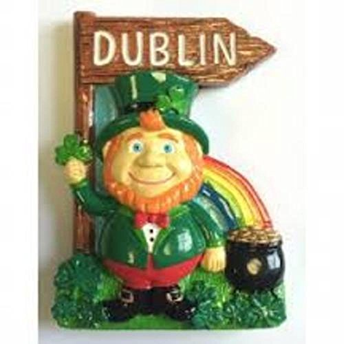 Resin Magnet With Ireland Leprechaun With Rainbow, Pot Of Gold And Dublin Sign -