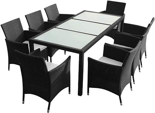 Xinglieu Juego de Mesa y sillas de jardín de 17 Piezas en polirratán Ligero Negro Juego de sillas y Mesa de jardín Mesa y sillas de jardín: Amazon.es: Jardín