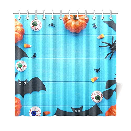 WUTMVING Home Decor Bath Curtain Halloween Bats Pumpkins On Blue Wooden Polyester Fabric Waterproof Shower Curtain for Bathroom, 72 X 72 Inch Shower Curtains Hooks -