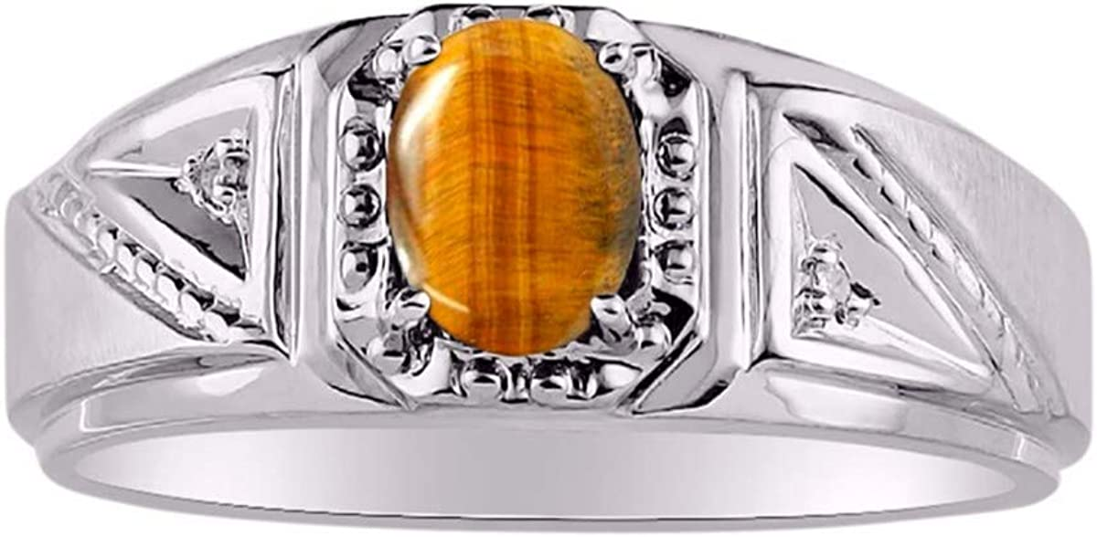 RYLOS Anillo para hombre con forma ovalada preciosa gema y diamantes brillantes auténticos en oro blanco de 14 K diseño clásico banda - 7 x 5 mm esmeralda, rubí, zafiro color piedra