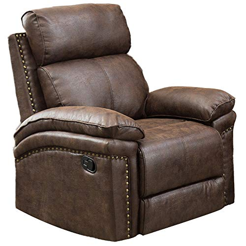 Romatpretty Leather Sofa Classic Seat1,Recliner Single Couch, Lounge Chair Backrest Headrest Adjusted Manually Ergonomic Padded Seat Overstuffed Arms and Back Easy to Maintain (Recliner Overstuffed Chairs)